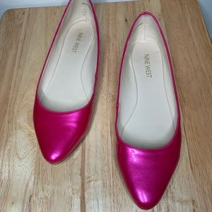Nine West Speakup Almond Toe Patent Pink Flats